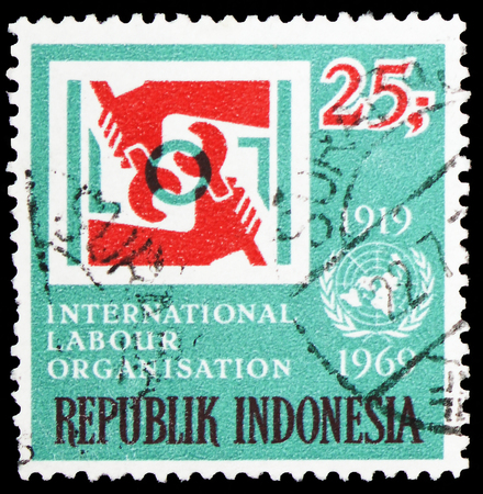 MOSCOW, RUSSIA - FEBRUARY 10, 2019: A stamp printed in Indonesia shows International Labour Organization, serie, circa 1969