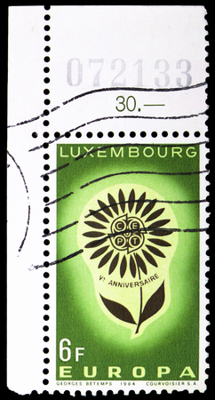MOSCOW, RUSSIA - FEBRUARY 10, 2019: A stamp printed in Luxembourg shows EUROPA - Flower, serie, circa 1964