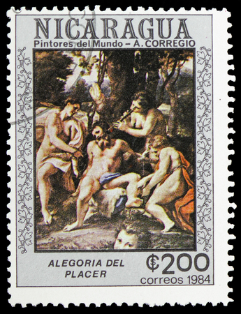 MOSCOW, RUSSIA - FEBRUARY 10, 2019: A stamp printed in Nicaragua shows Allegory of Placer, Correggio serie, circa 1984