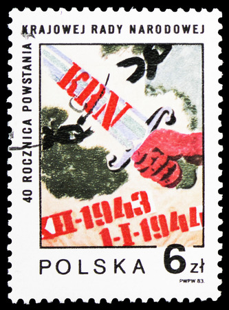 MOSCOW, RUSSIA - FEBRUARY 10, 2019: A stamp printed in Poland shows National People's Council, 40th Anniversary, serie, circa 1983
