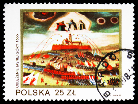 MOSCOW, RUSSIA - FEBRUARY 10, 2019: A stamp printed in Poland shows Siege of Jasna Gora by Swedes, 1655, Black Madonna of Jasna Gora serie, circa 1982 Redactioneel