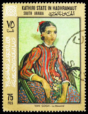 Moscú, Rusia - 10 de febrero de 2019: Un sello impreso en Adén - Protectorados, Arabia Saudita, muestra pinturas de Vincent van Gogh, serie del estado de Seiyun de Kathiri, circa 1968