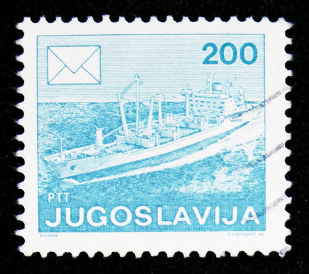 MOSCOW, RUSSIA - FEBRUARY 10, 2019: A stamp printed in Yugoslavia shows Ship, Postal service serie, circa 1986
