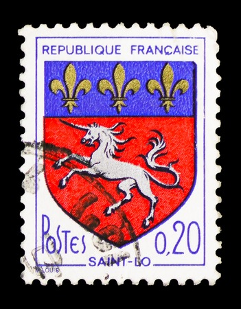 MOSCOW, RUSSIA - FEBRUARY 10, 2019: A stamp printed in France shows Saint-Lo, Coat of Arms serie, circa 1966