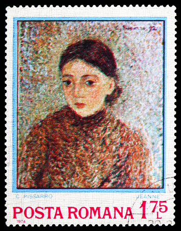 MOSCOW, RUSSIA - FEBRUARY 10, 2019: A stamp printed in Romania shows Jeanne by Camille Pissarro (1830-1903), Impressionist Paintings serie, circa 1974 Sajtókép