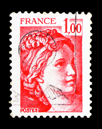 MOSCOW, RUSSIA - FEBRUARY 10, 2019: A stamp printed in France shows Sabine, serie, circa 1977