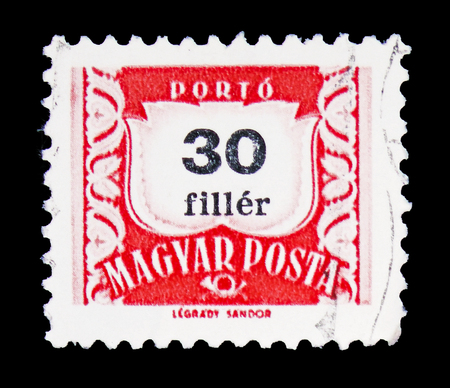 MOSCOW, RUSSIA - FEBRUARY 10, 2019: A stamp printed in Hungary shows Postage due, serie, circa 1958