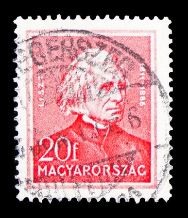MOSCOW, RUSSIA - FEBRUARY 10, 2019: A stamp printed in Hungary shows Ferenc (Franz) Liszt (1811-1886) composer, Personalities serie, circa 1932