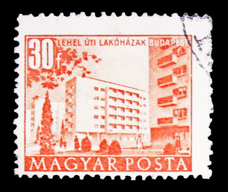 MOSCOW, RUSSIA - FEBRUARY 10, 2019: A stamp printed in Hungary shows Buildings in Lehel Street, Buildings of the Five-Year-Plan in Budapest serie, circa 1958