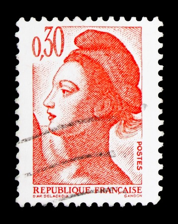 MOSCOW, RUSSIA - FEBRUARY 10, 2019: A stamp printed in France shows Liberty, Freedom of Gandon serie, circa 1982 Editöryel
