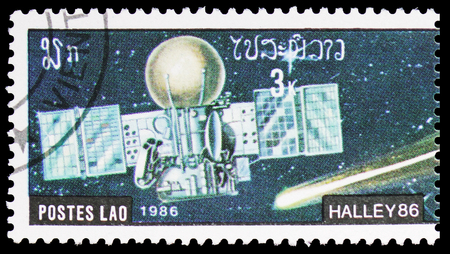 MOSCOW, RUSSIA - FEBRUARY 10, 2019: A stamp printed in Lao Peoples Democratic Republic shows Halley Comet, serie, circa 1986 Sajtókép