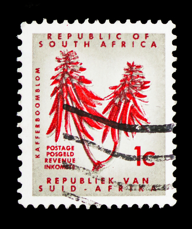 MOSCOW, RUSSIA - FEBRUARY 10, 2019: A stamp printed in South Africa shows Erythrina, Definitive Issue - Decimal Issueserie, circa 1968 에디토리얼