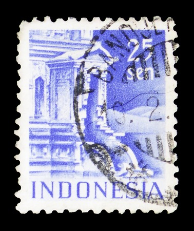 MOSCOW, RUSSIA - FEBRUARY 10, 2019: A stamp printed in Indonesia shows Entrance to Tjandi-Poentadewa Temple, Buildings serie, circa 1949