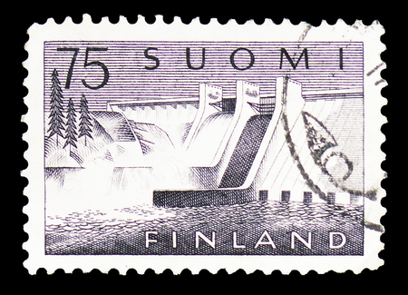 MOSCOW, RUSSIA - FEBRUARY 10, 2019: A stamp printed in Finland shows Pyhäkoski Power Plant, serie, circa 1959 Editorial