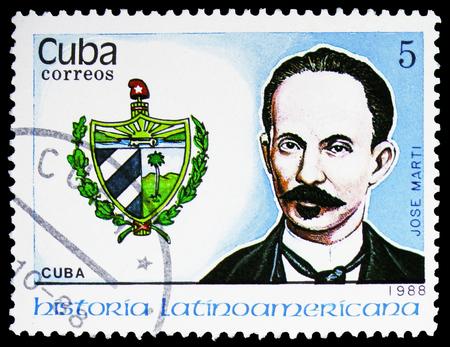 MOSCOW, RUSSIA - FEBRUARY 10, 2019: A stamp printed in Cuba shows Jose Marti, Cuba, Latin american history serie, circa 1988 Editorial