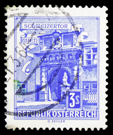 MOSCOW, RUSSIA - FEBRUARY 10, 2019: A stamp printed in Austria shows Swiss Gate, Vienna Hofburg, Buildings  serie, circa 1962 Redakční