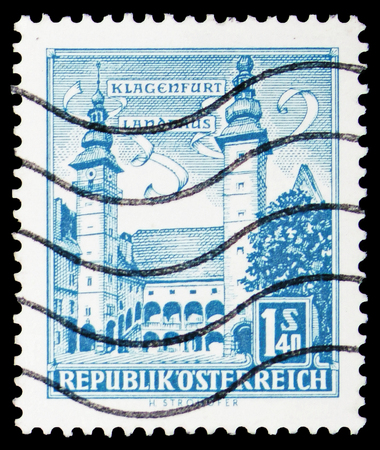MOSCOW, RUSSIA - FEBRUARY 10, 2019: A stamp printed in Austria shows State Parliament Building, Klagenfurt, Buildings  serie, circa 1960