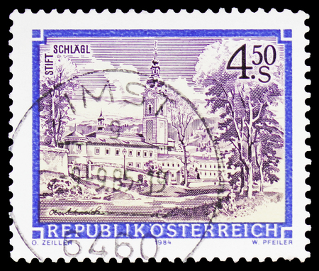 MOSCOW, RUSSIA - FEBRUARY 10, 2019: A stamp printed in Austria shows Premonstratensian Abbey, Schlagl, Monasteries and Abbeys serie, circa 1989