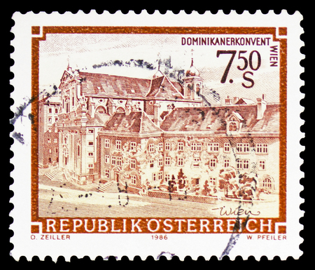 MOSCOW, RUSSIA - FEBRUARY 10, 2019: A stamp printed in Austria shows Dominican Abbey, Vienna, Monasteries and Abbeys serie, circa 1989
