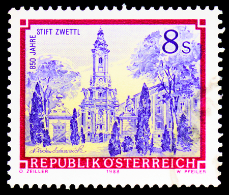 MOSCOW, RUSSIA - FEBRUARY 10, 2019: A stamp printed in Austria shows Cistercian Abbey Zwettl, Monasteries and Abbeys serie, circa 1989