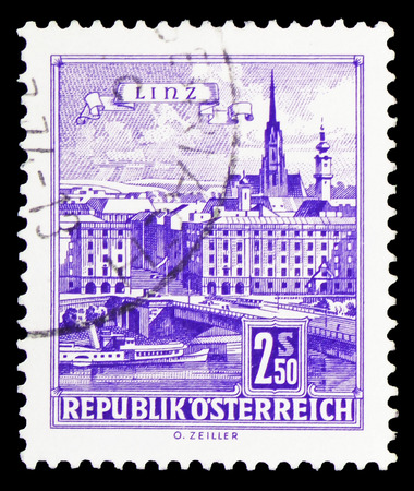 MOSCOW, RUSSIA - FEBRUARY 10, 2019: A stamp printed in Austria shows Danube Bridge, Linz, Buildings  serie, circa 1962