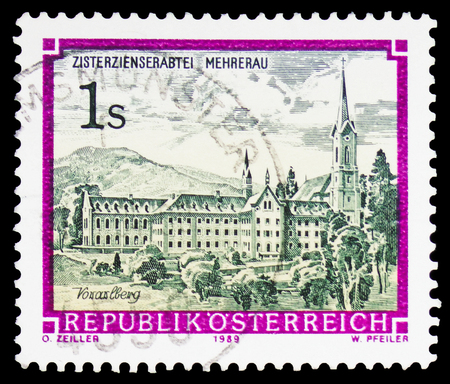 MOSCOW, RUSSIA - FEBRUARY 10, 2019: A stamp printed in Austria shows Cistercian Abbey Mehrerau, Monasteries and Abbeys serie, circa 1989