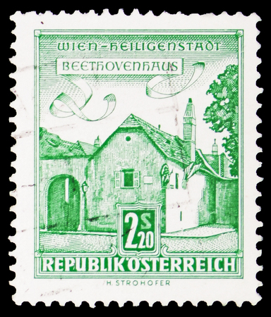 MOSCOW, RUSSIA - FEBRUARY 10, 2019: A stamp printed in Austria shows Beethoven House, Vienna-Heiligenstadt, Buildings  serie, circa 1960