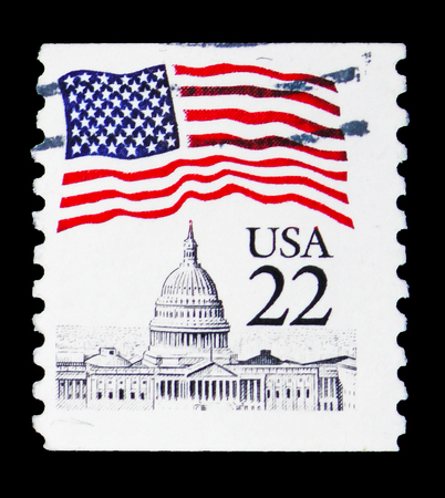 MOSCOW, RUSSIA - FEBRUARY 10, 2019: A stamp printed in United States shows Flag over Capitol, 1985 Regular Issue serie, circa 1985 Editöryel