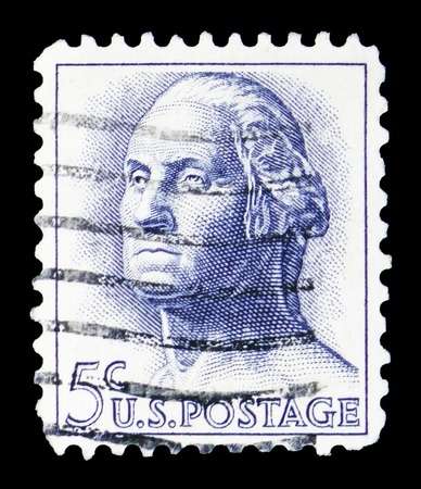 MOSCOW, RUSSIA - FEBRUARY 10, 2019: A stamp printed in United States shows George Washington (1732-1799), 1961-1966 Regular Issue serie, circa 1963 Editöryel