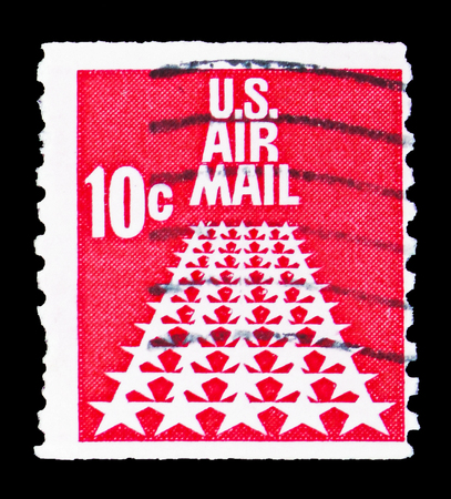 MOSCOW, RUSSIA - FEBRUARY 10, 2019: A stamp printed in United States shows 50-Star Runway, Airmail 1968-1973 serie, circa 1968