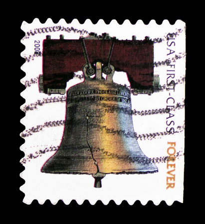 MOSCOW, RUSSIA - FEBRUARY 10, 2019: A stamp printed in United States shows Liberty Bell Forever, serie, circa 2008