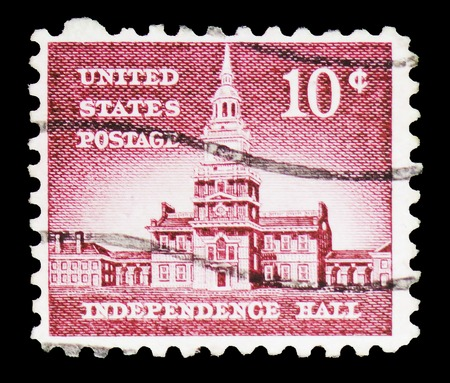 MOSCOW, RUSSIA - FEBRUARY 10, 2019: A stamp printed in United States shows Independence Hall (1753), Philadelphia, Liberty Issue serie, circa 1956