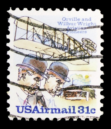 MOSCOW, RUSSIA - FEBRUARY 10, 2019: A stamp printed in United States shows Wright Brothers, Flyer A and Shed, Wright Brothers Issue serie, circa 1978