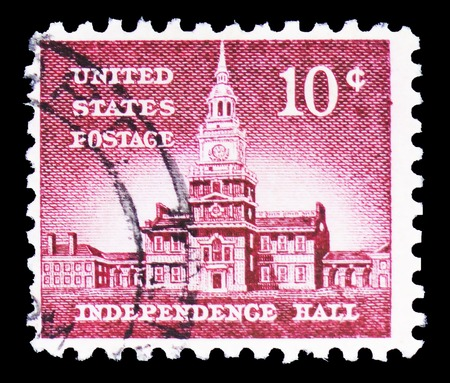 MOSCOW, RUSSIA - FEBRUARY 10, 2019: A stamp printed in United States shows Independence Hall (1753), Philadelphia, Liberty Issue serie, circa 1966 Editöryel