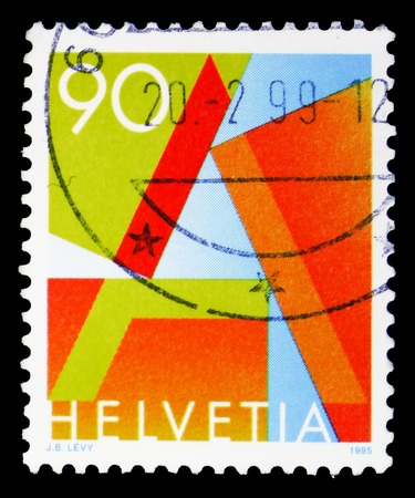MOSCOW, RUSSIA - FEBRUARY 10, 2019: A stamp printed in Switzerland shows Letter A, First Class Mail, serie, circa 1995