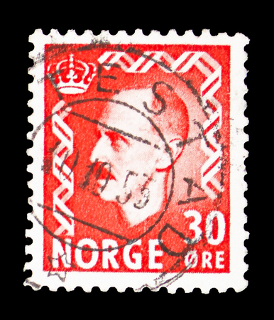 MOSCOW, RUSSIA - FEBRUARY 10, 2019: A stamp printed in Norway shows King Haakon VII, serie, circa 1951