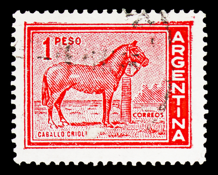 MOSCOW, RUSSIA - FEBRUARY 10, 2019: A stamp printed in Argentina shows Horse (Equus ferus caballus), Personalities and Landscapes serie, circa 1959