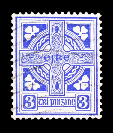 MOSCOW, RUSSIA - FEBRUARY 10, 2019: A stamp printed in Ireland shows Celtic Cross, Symbols 1940-68 serie, circa 1940 Editorial