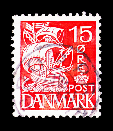 MOSCOW, RUSSIA - FEBRUARY 10, 2019: A stamp printed in Denmark shows Sailship, serie, circa 1938