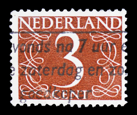 MOSCOW, RUSSIA - FEBRUARY 10, 2019: A stamp printed in Netherlands shows Numeral, Numbers serie, circa 1953 Editoriali