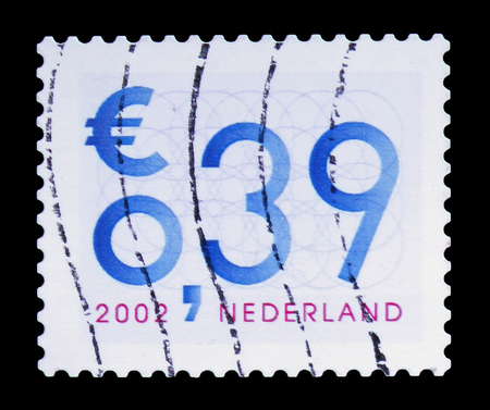 MOSCOW, RUSSIA - FEBRUARY 10, 2019: A stamp printed in Netherlands shows Number, Business Stamps serie, circa 2002 Editorial