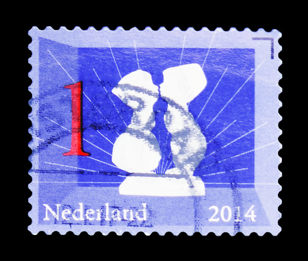 MOSCOW, RUSSIA - FEBRUARY 10, 2019: A stamp printed in Netherlands shows Delfts Blue, Dutch icons serie, circa 2014