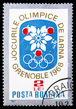 MOSCOW, RUSSIA - FEBRUARY 20, 2019: A stamp printed in Romania shows Olympic Games Grenoble, Winter Olympic games 1968 - Grenoble serie, circa 1967 Editöryel