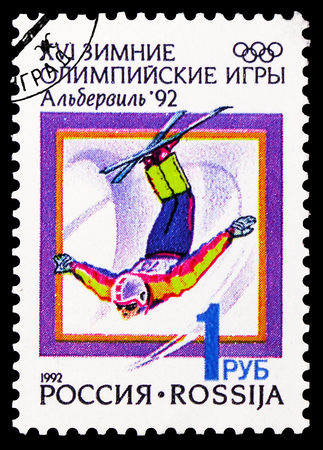 MOSCOW, RUSSIA - FEBRUARY 20, 2019: A stamp printed in Russia shows Freestyle Skiing, Winter Olympics 1992, Albertville serie, circa 1992 Redactioneel