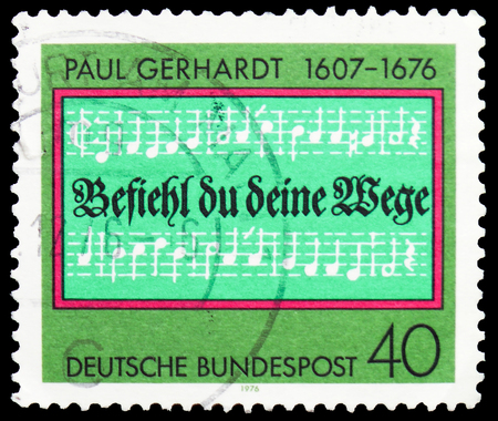 MOSCOW, RUSSIA - FEBRUARY 20, 2019: A stamp printed in Germany, Federal Republic, shows Opening lines of Hymn Entrust Yourself to God, Gerhardt, Paul (composer) serie, circa 1976 Editorial