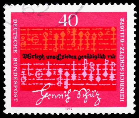 MOSCOW, RUSSIA - FEBRUARY 20, 2019: A stamp printed in Germany, Federal Republic, shows Notes and text by Heinrich Schutz (1585-1672), Composer, 300th Death Anniversary of Heinrich Schutz serie, circa 1972