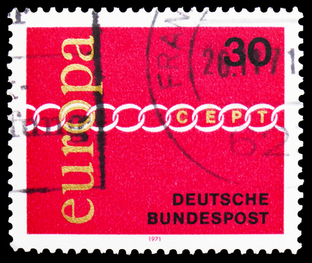 MOSCOW, RUSSIA - FEBRUARY 20, 2019: A stamp printed in Germany, Federal Republic, shows Brotherhood and cooperation symbolized by chain, Europa (C.E.P.T.) serie, circa 1971 Editorial