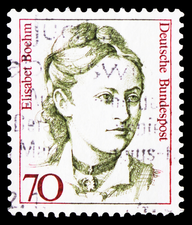 MOSCOW, RUSSIA - FEBRUARY 20, 2019: A stamp printed in Germany, Federal Republic, shows Elisabet Boehm (1859-1943), founder of the first womens Agricultural Housewives Society, Women in German History serie, circa 1991