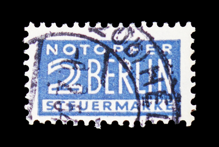 MOSCOW, RUSSIA - FEBRUARY 20, 2019: A stamp printed in Germany, Allied Occupation 1945-1949 shows Notopfer Berlin, serie, circa 1949