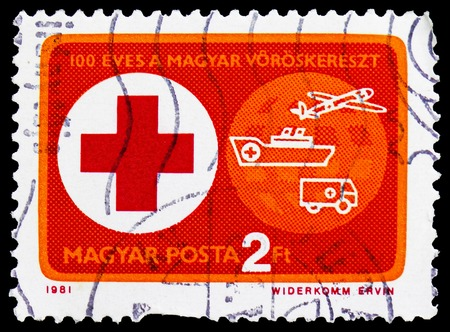 MOSCOW, RUSSIA - FEBRUARY 20, 2019: A stamp printed in Hungary shows 100 years of Hungarian Red Cross, Red Cross serie, circa 1981 Editorial